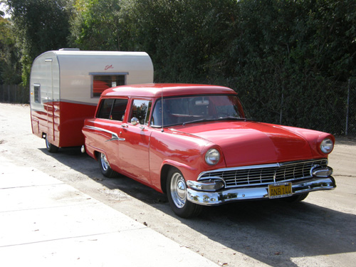 Ford and Shasta trailer